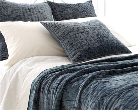 soft textured blue green washable velvet coverlet shams