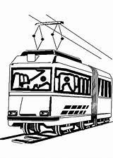 Tramway Transportation Transport Coloring Transporte Dessin Printable Colorear sketch template