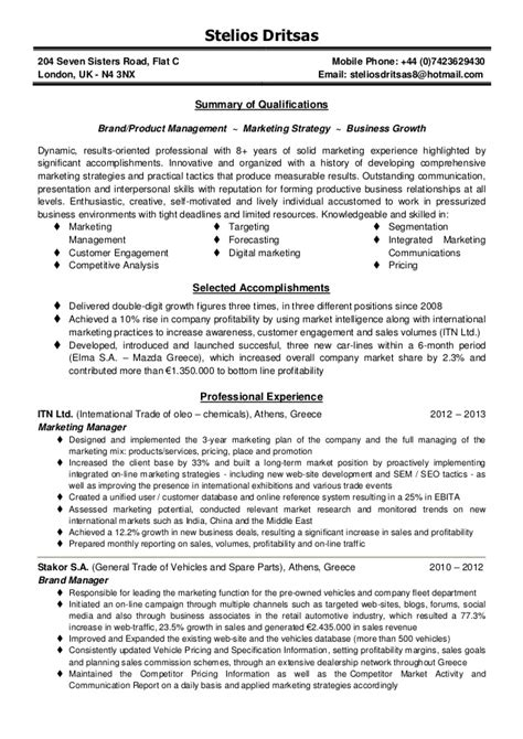 Professional Summary Exles For Marketing Resume by Marketing Manager Resume Summary Cv Brand Product Marketing Manager Stelios Dritsas Stelios