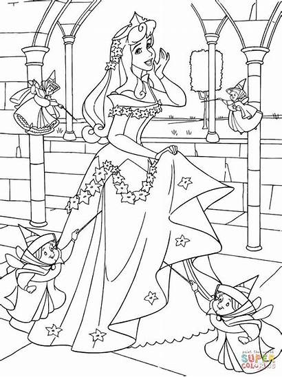 Coloring Aurora Princess Pages Fairies Printable Drawing