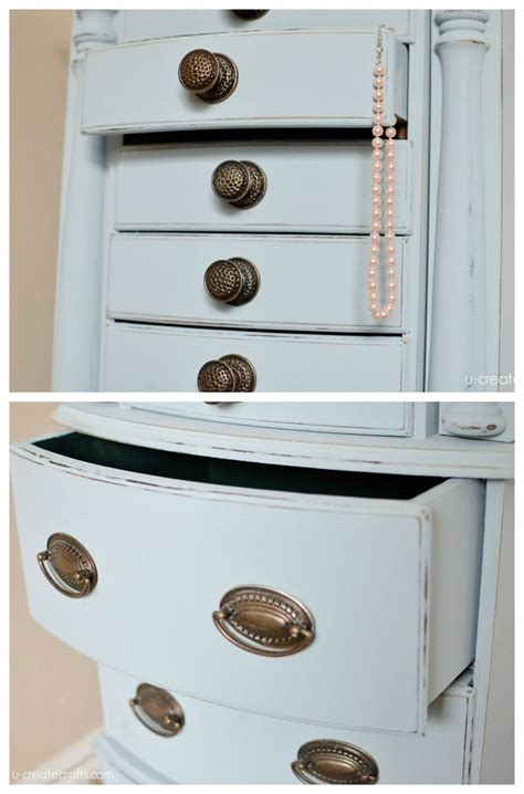 Painted Jewelry Armoire Jewelry Armoire Makeover With Valspar Chalky Finish Paint