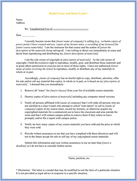 cease and desist letter cease and desist letter template 28 images 30 cease