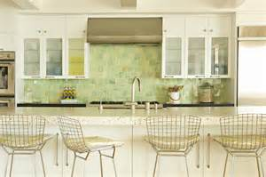 Green Backsplash Kitchen Metal Bar Stools Cottage Kitchen Eric Design