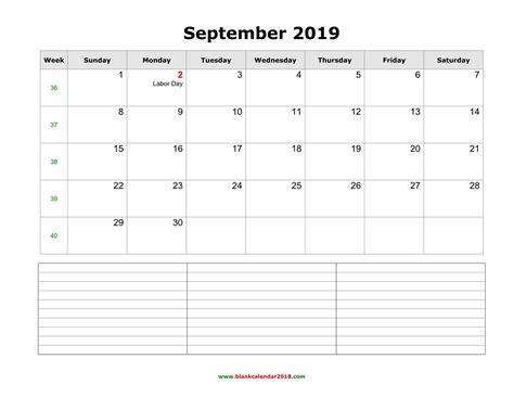 blank calendar september