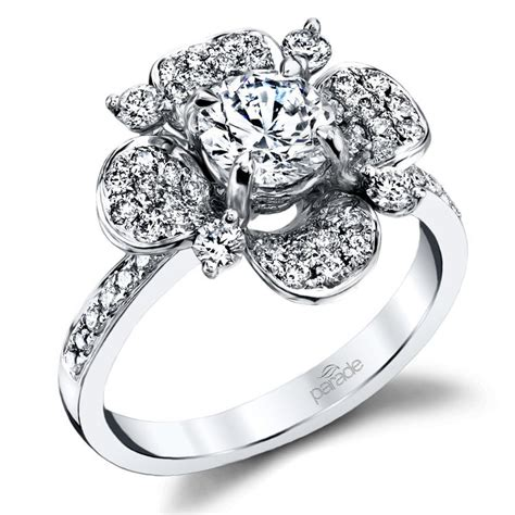 blossoming flower diamond engagement ring in white gold by parade