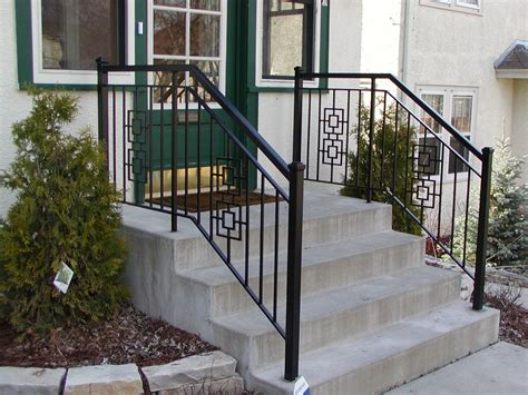 Iron Step Railing With 2 Inch Square End Posts And Square