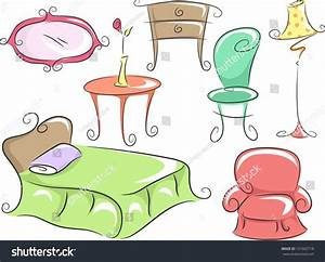 Illustration Of Home Furniture Featuring A Bed, A Corner ...