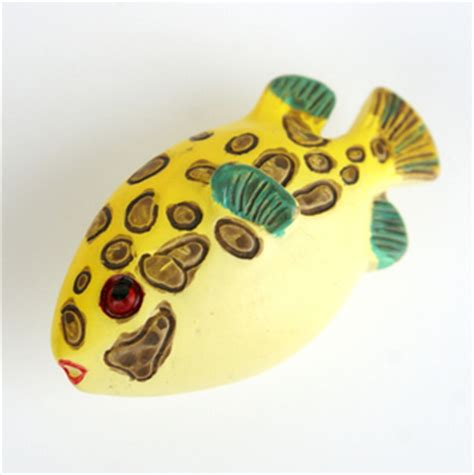 fish cabinet knobs drawer pulls m5031 small fat yellow fish with brown spots cartoon resin