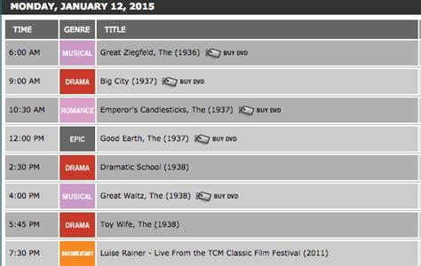 Tcm Movie Schedule December 2015