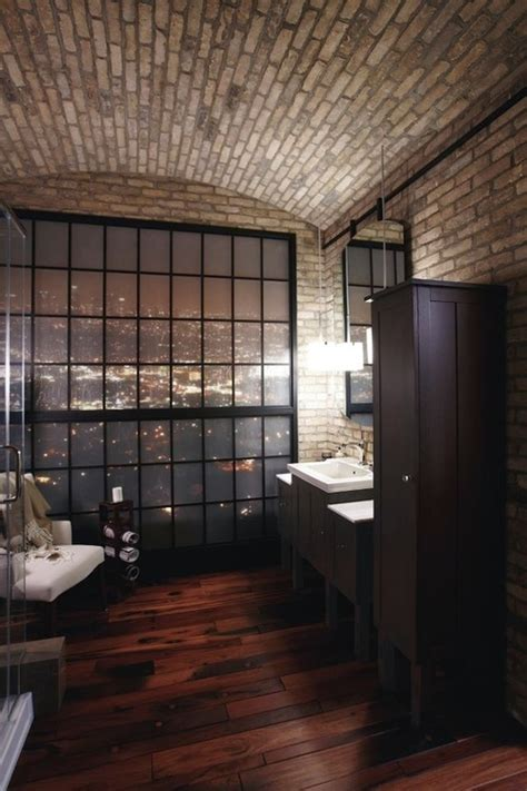 stylish bathrooms  brick walls  ceilings digsdigs