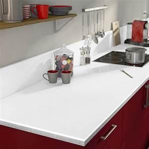 plan de travail stratifie blanc brillant l315 x p65 cm l With plan de travail cuisine blanc laque