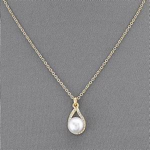 Gold Simple Chain Pearl Small Clear Stone Pendant Elegant ...