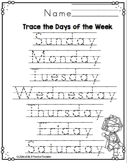 days of the week worksheets preschool printables
