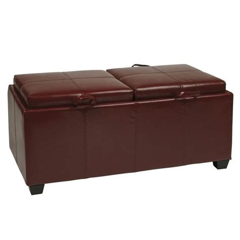 leather ottoman with storage and tray metro storage bench ottoman with trays in red faux leather
