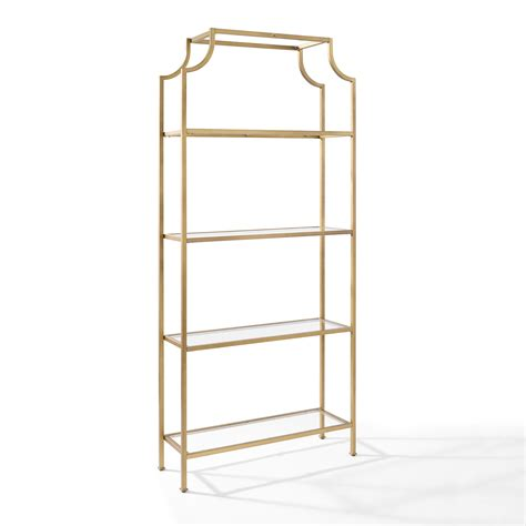 Gold Etagere by Crosley Furniture Aimee Gold Glass Etagere Cf6101 Gl