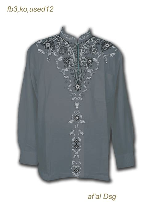 contoh desain baju koko warna abu abu bordir