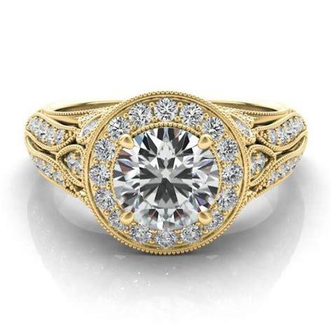 antique inspired forever one moissanite diamond halo