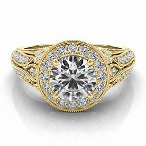 antique inspired forever one moissanite diamond halo With antique inspired wedding rings