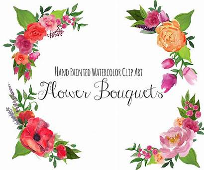 Clip Floral Bouquet Clipart Frame Flower Flowers