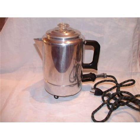 This fabulous austrian enamel coffee pot features mod 1960s decorations. Antique Electric Percolator Coffee Pot #2101045