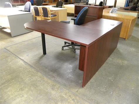 used l shaped desk used l shape laminate desk with peninsula bullet front