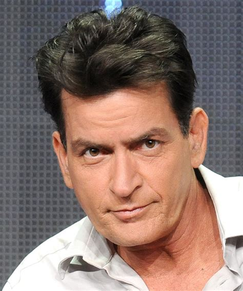 charlie sheen casual short straight hairstyle ash