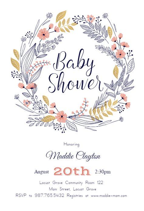 Baby Shower Templates Free - friendship wreath baby shower invitation template free