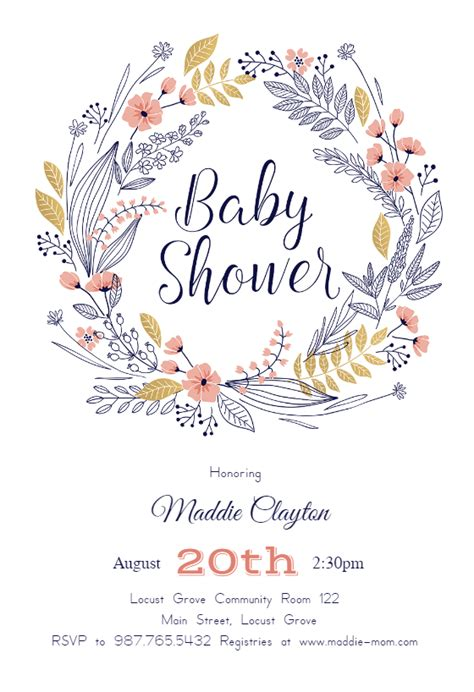 friendship wreath baby shower invitation template