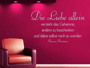 Wandtattoo Die Liebe allein Zitat Clemens Brentano von Wandtattoo net