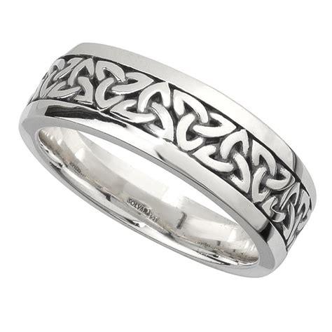 irish wedding band sterling silver mens celtic trinity