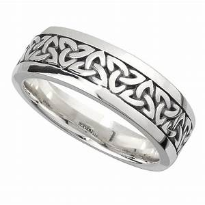 irish wedding band sterling silver mens celtic trinity With mens irish wedding ring