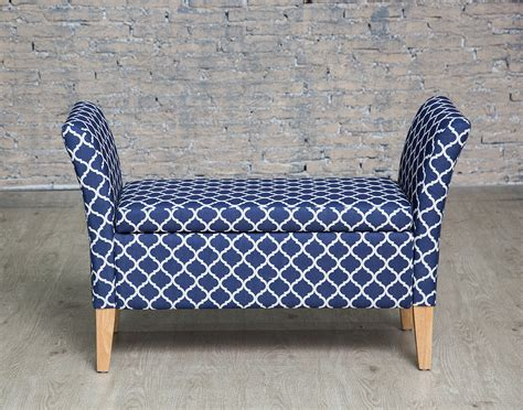 Bedroom Bench Navy Blue by Upholstered Navy Geometric Storage Bench With Arms Ottoman