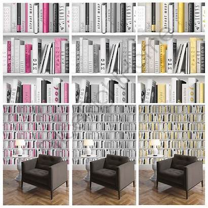Bookcase Library Pink Feature Gold Wall Silver