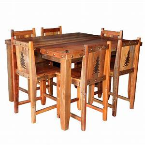 Barnwood Gathering Table & Chairs with Tree Carvings