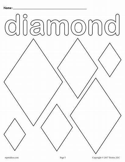 Diamond Coloring Diamonds Shape Shapes Pages Preschool
