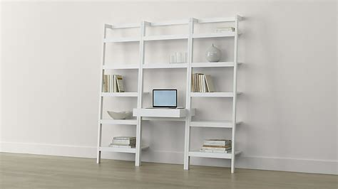 crate and barrel bookcase desk sawyer white leaning desk with two 24 5 quot bookcases crate
