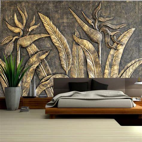 gold bird wallpaper  paradise sculpture home decor