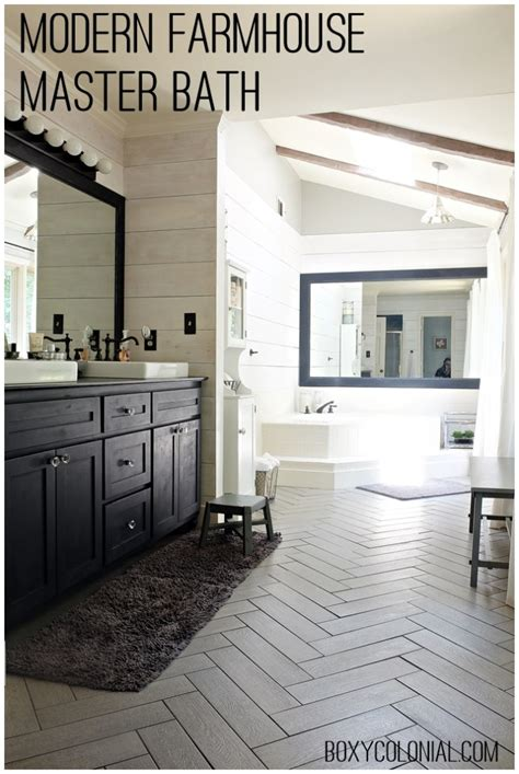 farmhouse bathroom floor kristi s modern farmhouse rustic glam master bathroom Modern