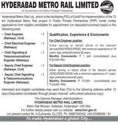 Seekers Resumes In Hyderabad hyderabad metro rail ltd project recruitment 2013 for various for seekers