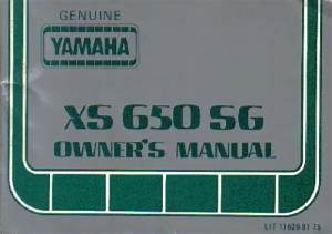 1980 Yamaha Xs650sg Special Ii Motorcycle Owners Manual