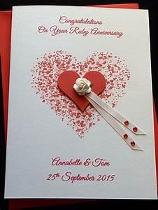 handmade personalised ruby or 40th wedding anniversary With handmade ruby wedding invitations
