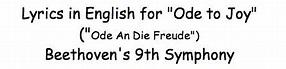 lyrics in English for Ode to Joy | Ode to joy, Lyrics ...