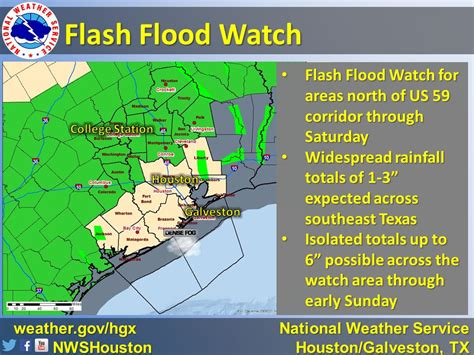 This morning, a flash flood watch has been issued from eastern texas around beaumont to most of southern louisiana, including lake charles and alexandria. Storm Watch: Rains north and west of Houston today, in the city Saturday - Weather