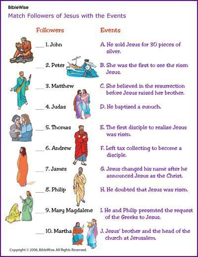 match the followers of jesus with the events korner biblewise sunday school sunday