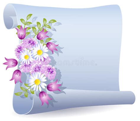 pergamena clipart pergamena con i fiori illustrazione vettoriale
