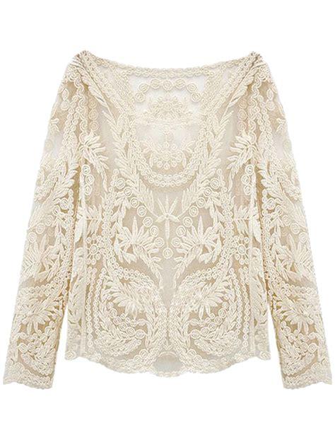 lace blouse white crochet lace mesh sleeve blouse choies