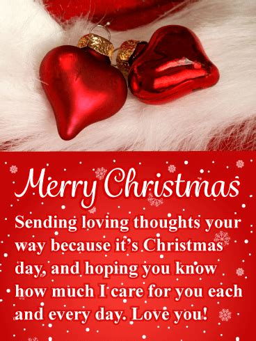 red heart ornaments romantic merry christmas card