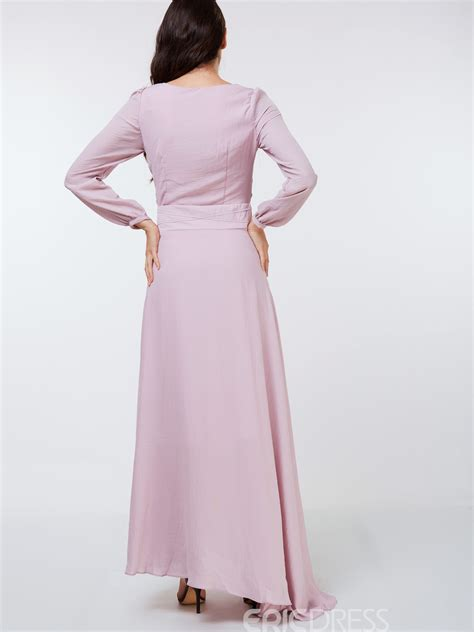 solid color maxi dresses ericdress ladylike solid color sleeve maxi dress