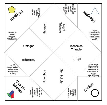 fortune teller template bookish ways in math and science monday math freebies geometry fortune teller