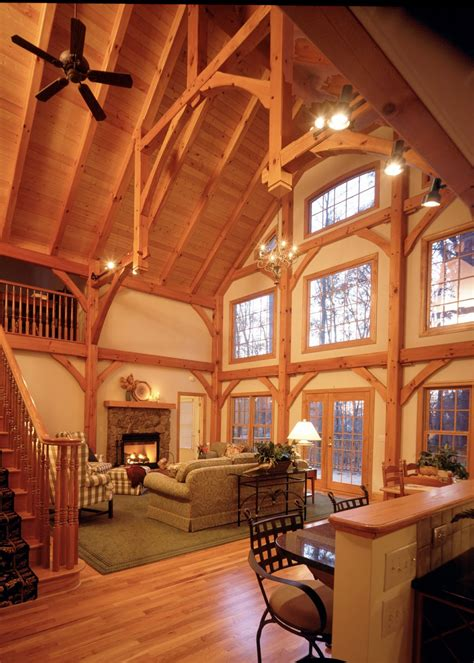 rustic residence  wood ceiling  hammer beam trusses